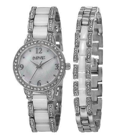 This Silvertone & White Ceramic Crystal Bracelet Watch by August Steiner is perfect! #zulilyfinds