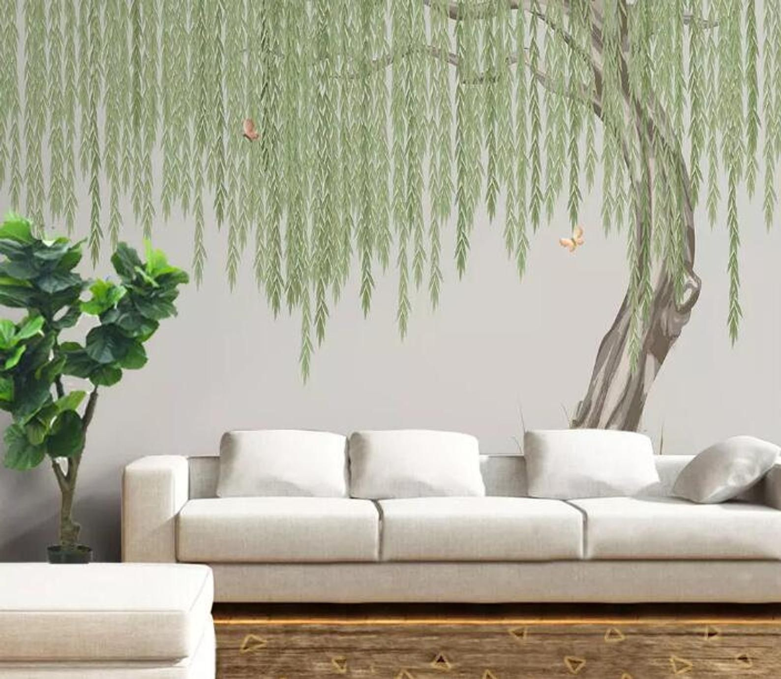3d Willow Tree E221 Removable Wallpaper Self Adhesive Etsy In 2020 Tree Wall Murals Wall Wallpaper Nursery Mural