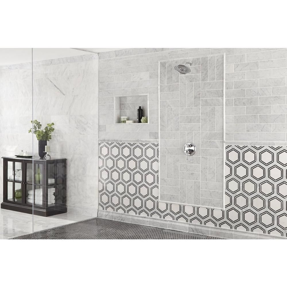 Decorative Backsplash Tile Amazing Carrara Thassos Hexagon Water Jet Cut Marble Mosaic  137Inx15 Design Ideas