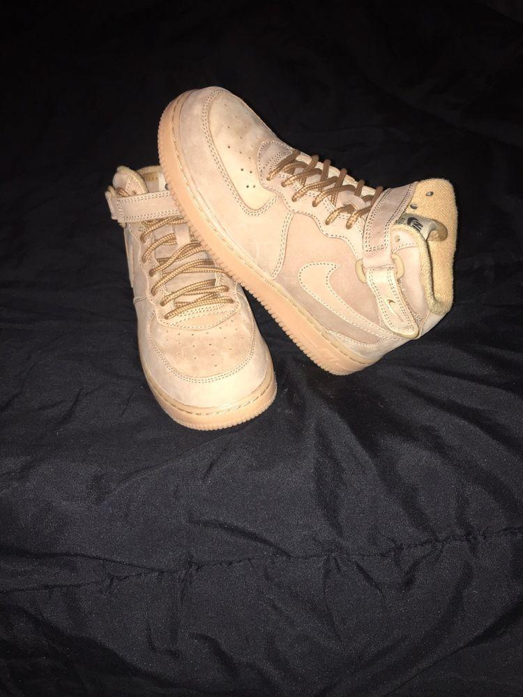 Nike Youth Air Force 1 Mid Wb Flax Gum Wheat Pre School Ah0756 203