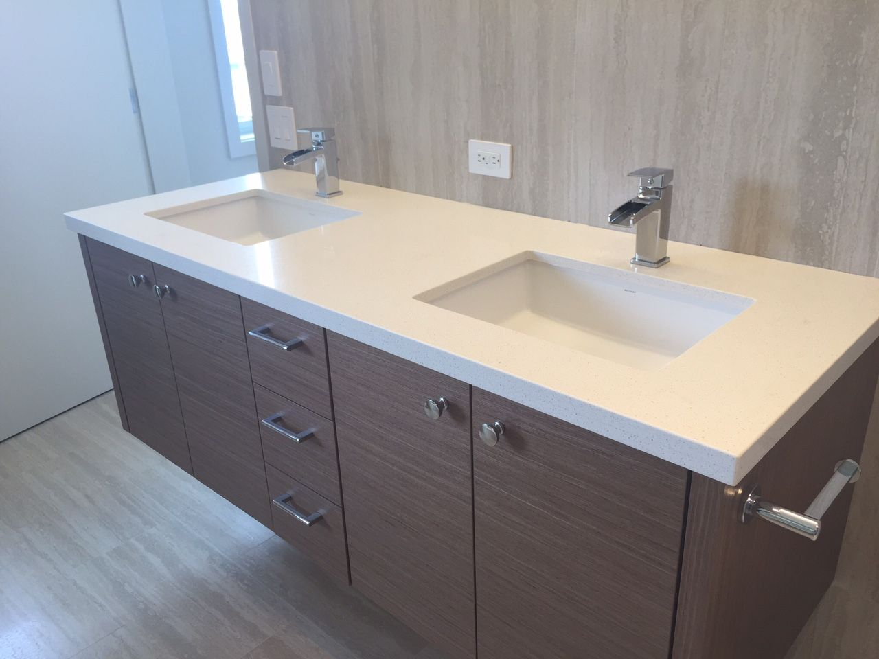 Caesarstone Bath Top with Undermount Sinks Countertops By Hawaii