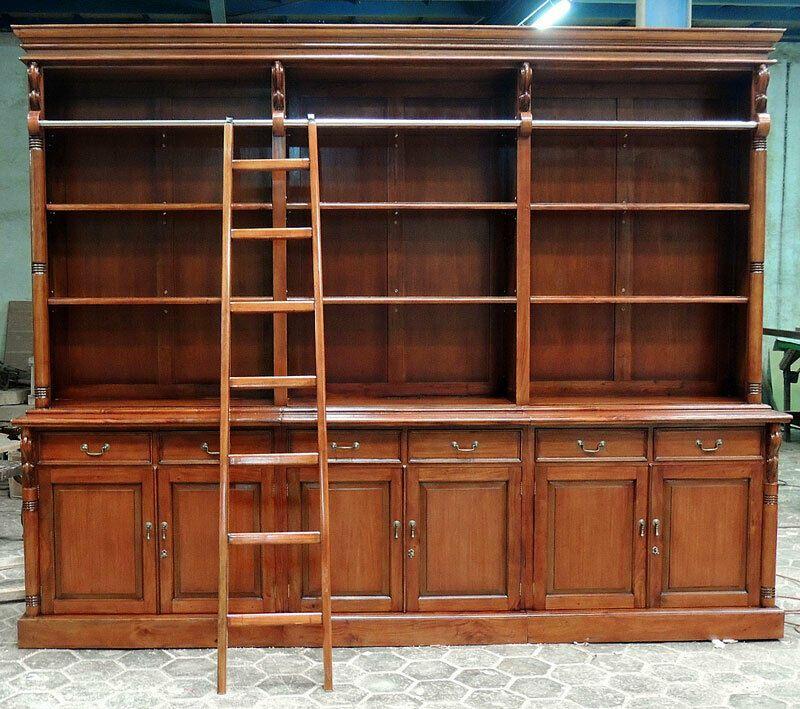 Mahagoni Bibliothek Ca 300cm Riesiger Bucherschrank Regal Mit Anlegeleiter Bucherschrank Regal Schrank