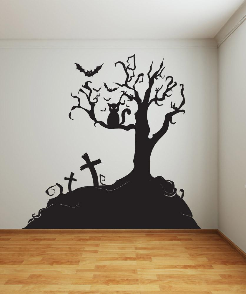 Wall Stickers Provided Halloween Haunted House Bats Tree Branch Wall Stickers Vinyl Removable Home Decor Hollow Out Living Room Art Decals