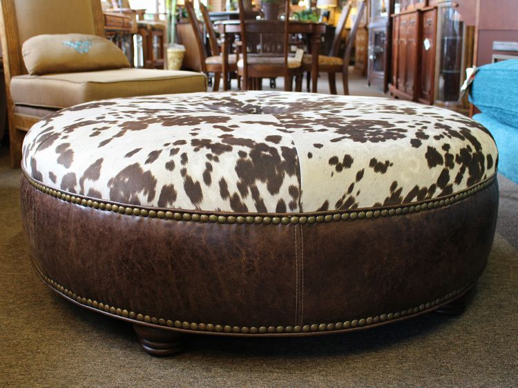 Unique Large Round Western Style Coffee Table Size Ottoman With Leather And Cowhide Print Upholstery Leathercoffeetables Living Room Design