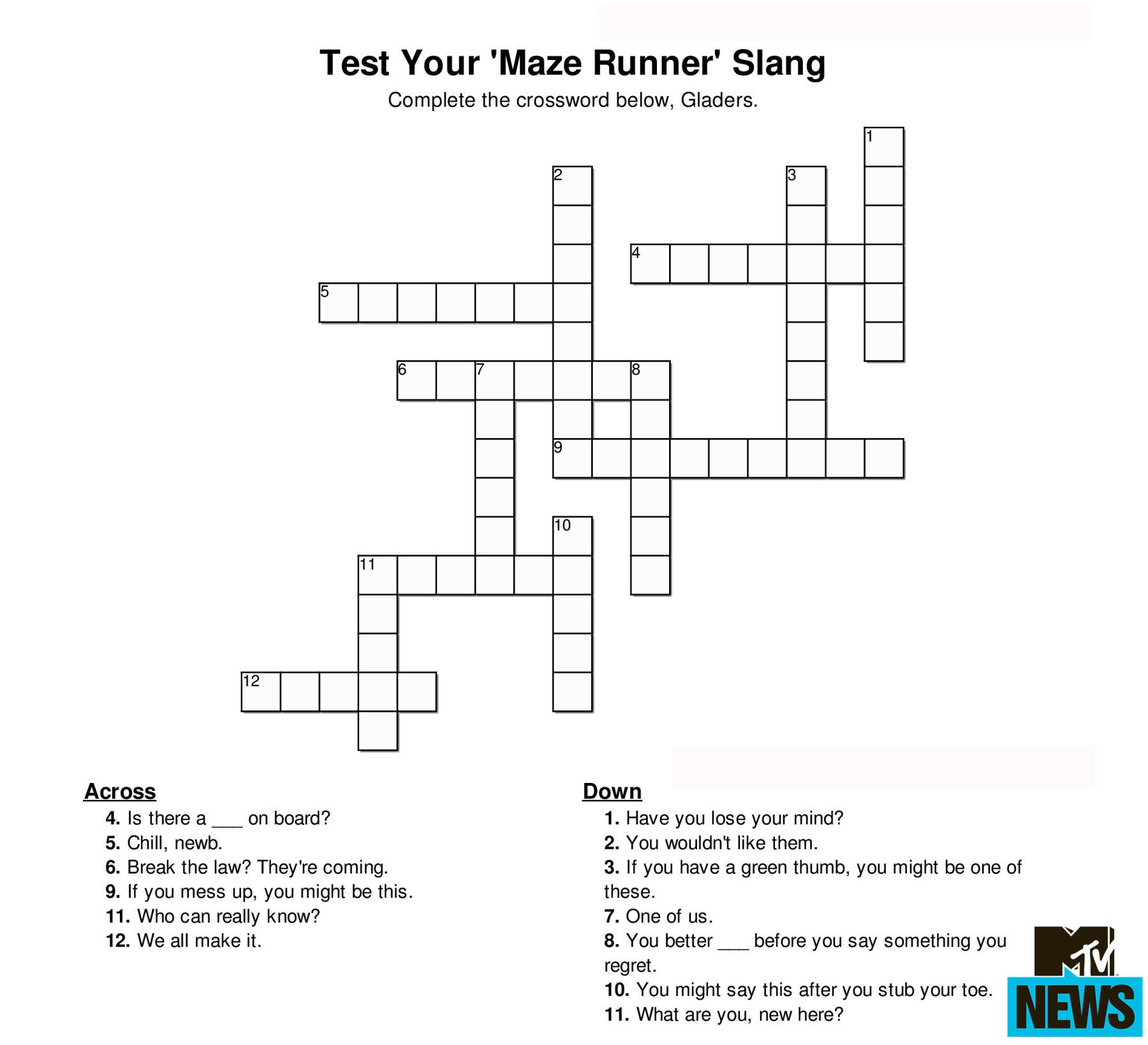 Can you ace these hunger games and ya crosswords hunger games test your fandom know how with these crossword puzzles malvernweather Images
