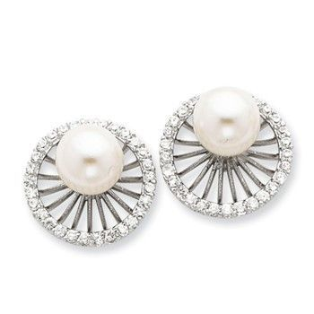 Sterling Silver CZ Simulated Pearl Earrings