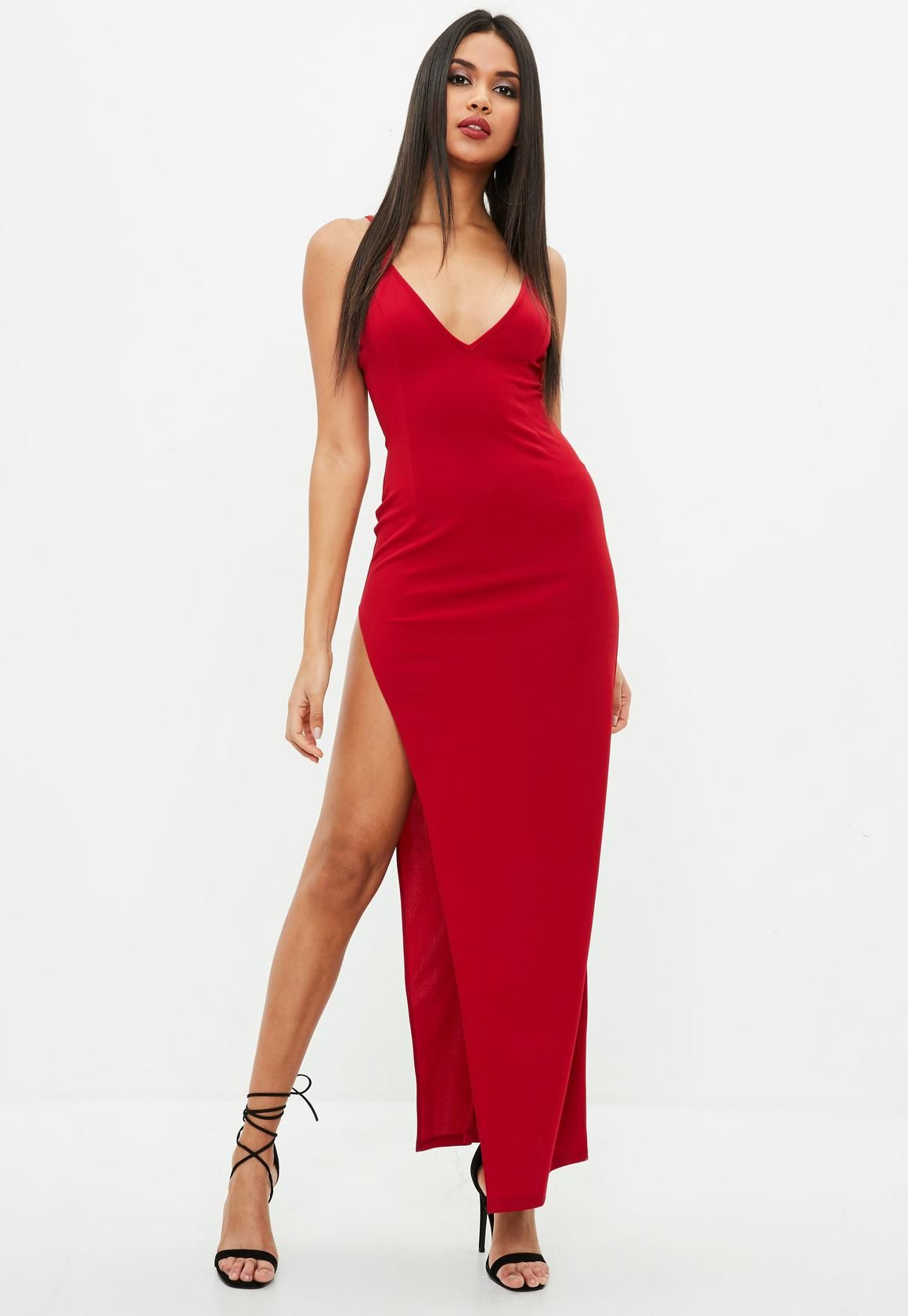 68183e625ee24 A red maxi dress with side splits, plunge neckline and jersey fabric ...