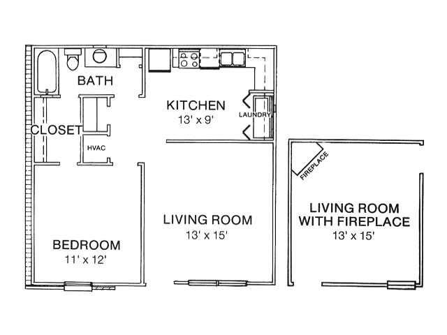 Large 1 Bedroom Apartment 690 Square Feet W D Connections Large Kitchen And Bedroom With An Option Of 1 Bedroom Apartment Kitchens And Bedrooms Floor Plans