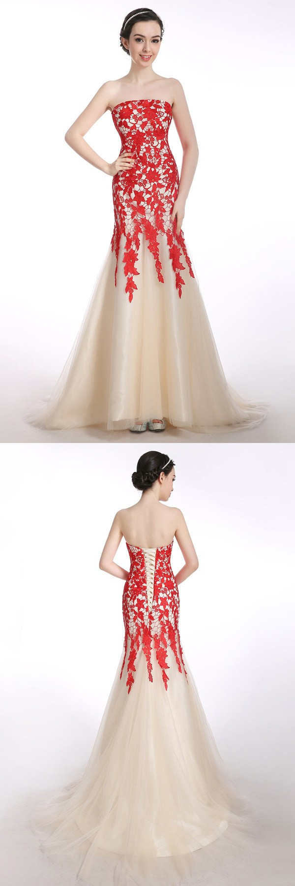 Mermaid strapless laceup long pron dress evening gwons with red