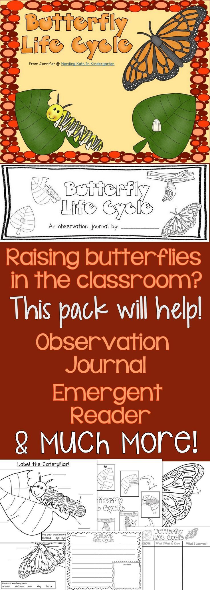 Butterfly Life Cycle Pack Including Observation Journal Kindergarten Science Elementary Science First Grade Science