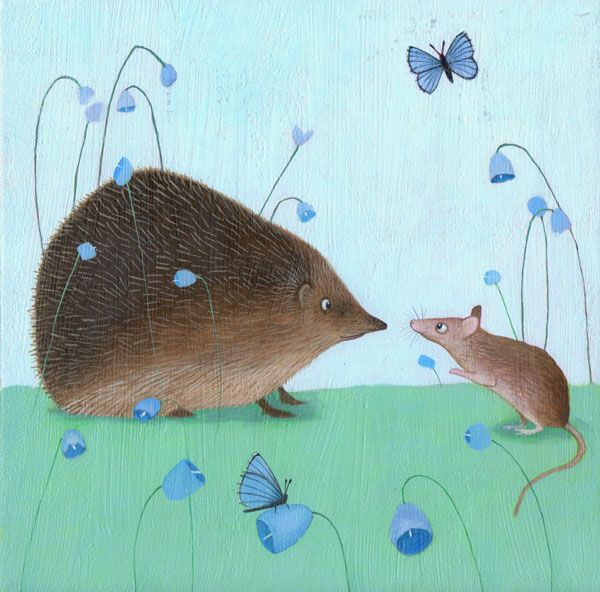 """""""Hedgehog an' Moose"""" from on original painting by Scottish artist Ailsa Black"""