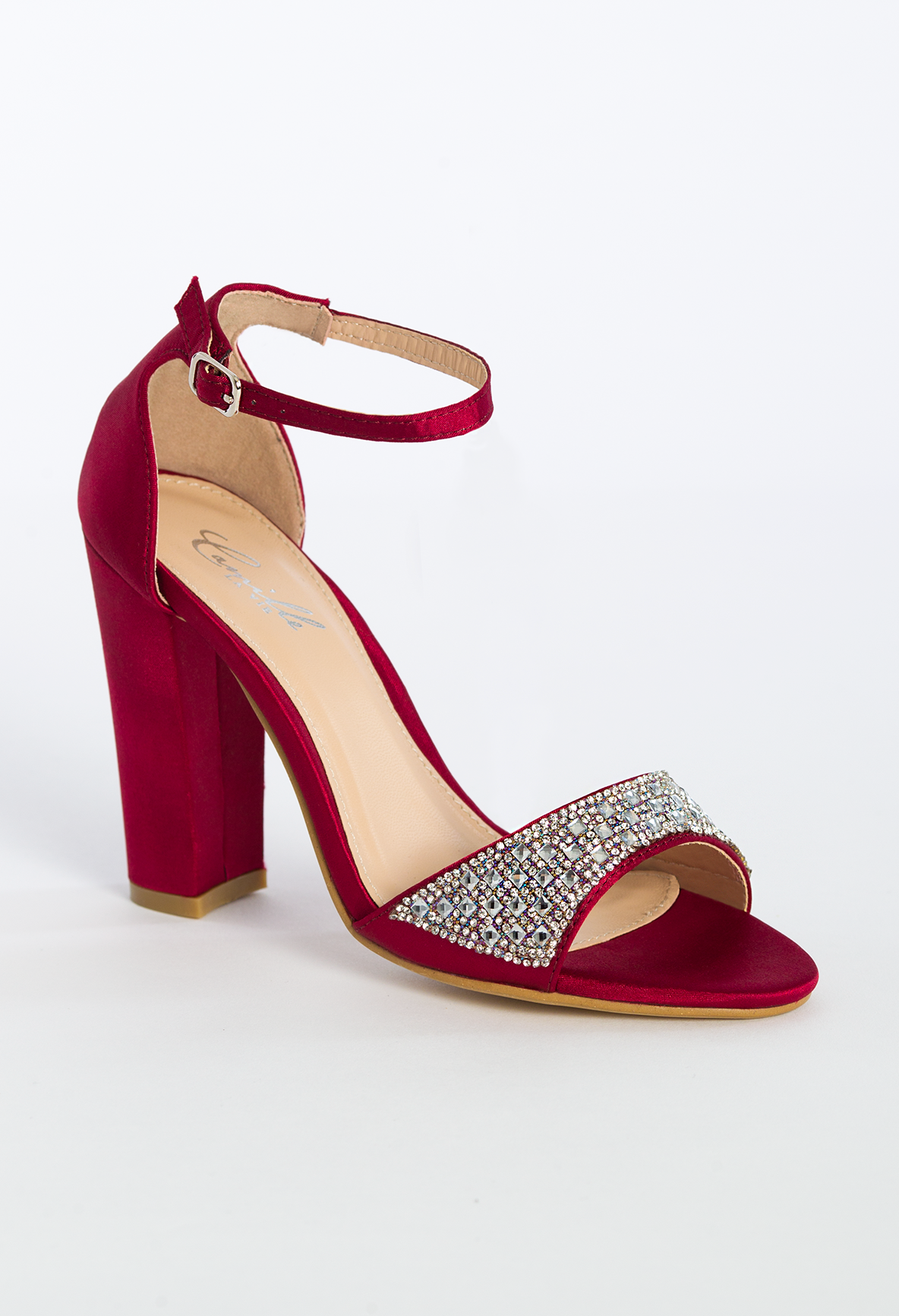 ab4c992eaed High wide heel satin\stone sandal features: • 3