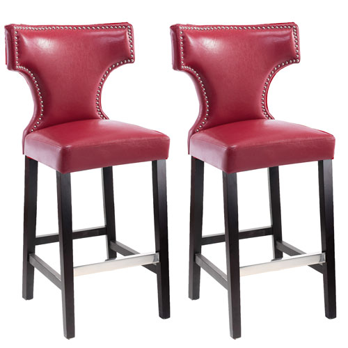 Fine Corliving Kings Bar Height Barstool In Red With Metal Studs Uwap Interior Chair Design Uwaporg
