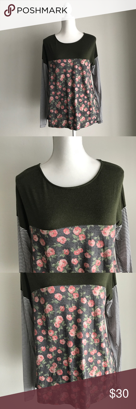 729667b52d04 Le Lis Stitch Fix Floral Striped Long Sleeve Top M Gently used. Olive Green  on