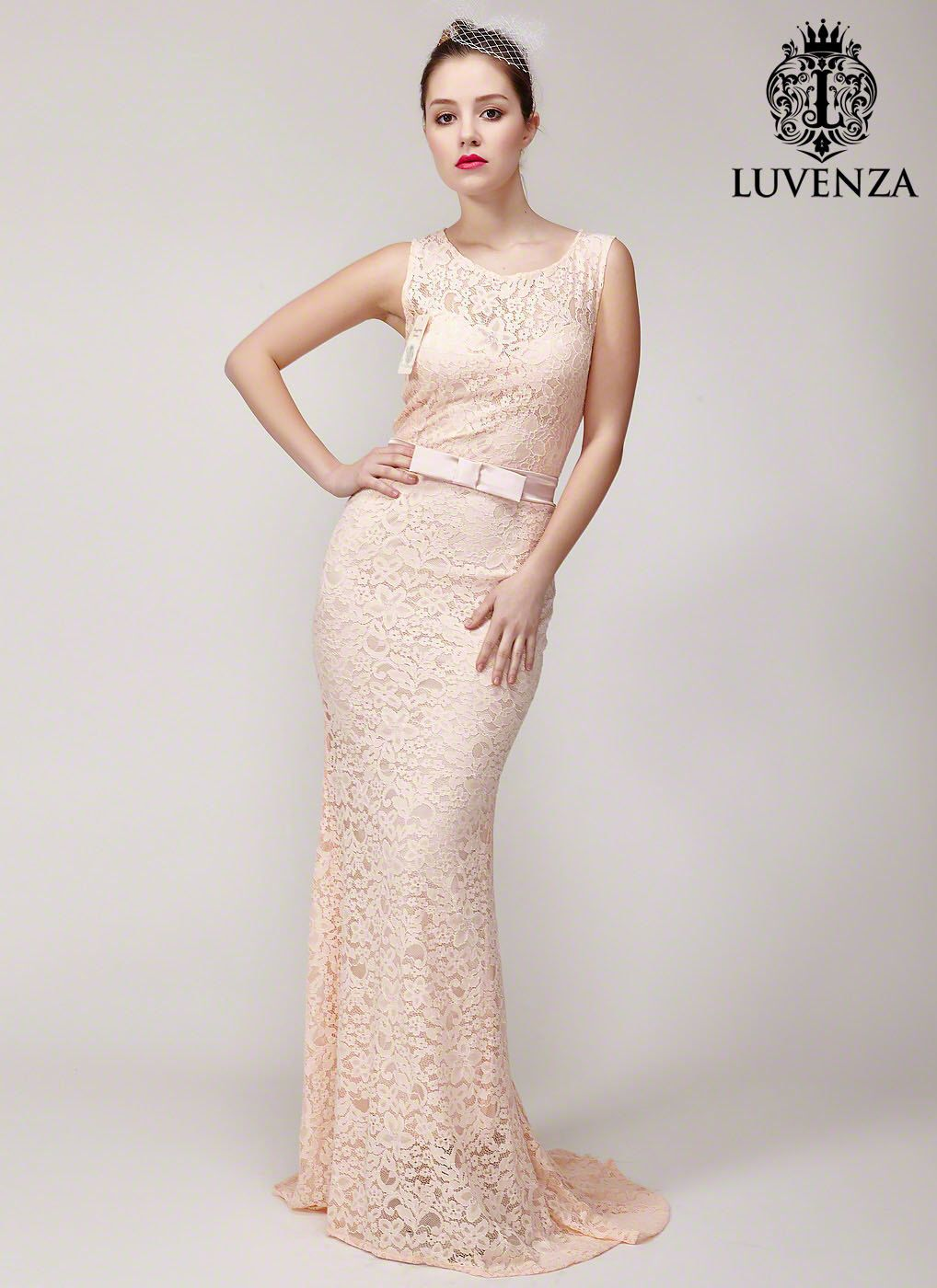 Trendy floor length evening gown with mermaid silhouette dusty rose