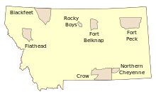 Map Of Indian Reservations In The State Of Montana Including The - Us map of indian reservations