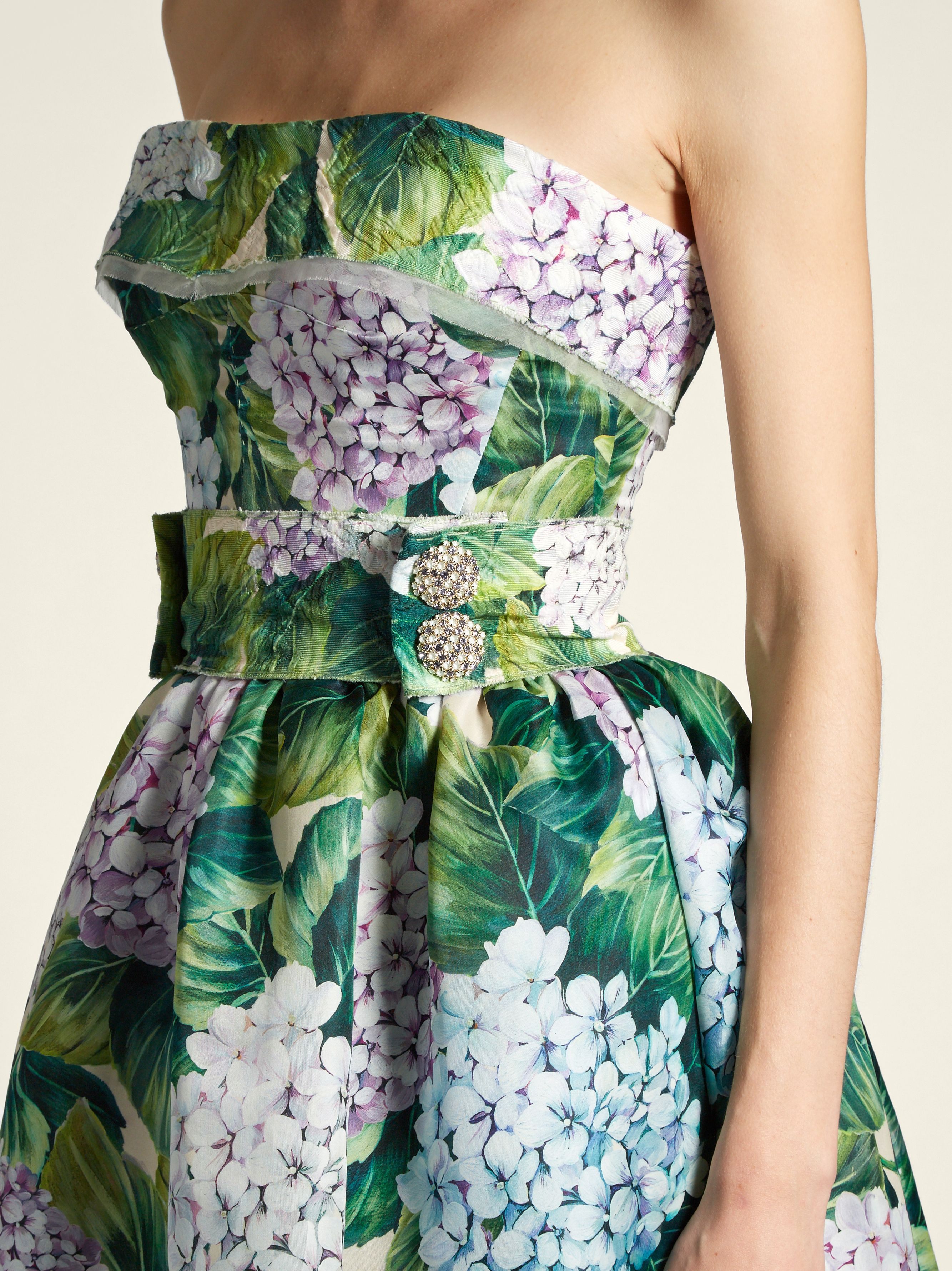 b20e2240 Hydrangea-print organza strapless dress | Dolce & Gabbana |  MATCHESFASHION.COM