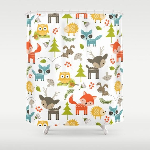 Woodland Animals Shower Curtain, Forest Animals Shower Curtain ...