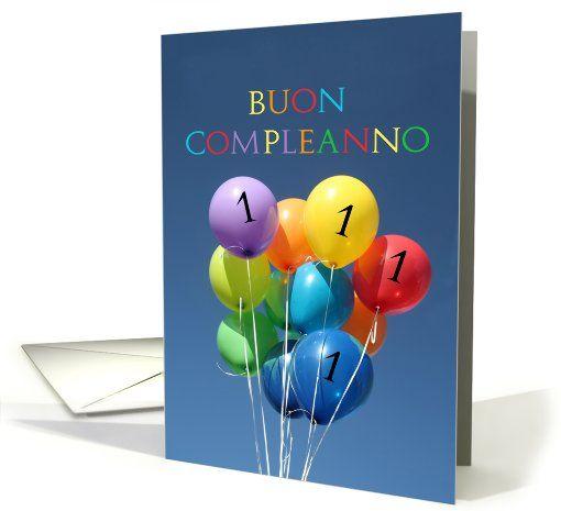 1st Birthday Italian Card Buon Compleanno