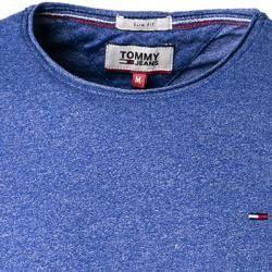 Tommy Jeans Herren T-Shirt, Slim Fit, Baumwolle, mittelblau meliert Tommy Hilfiger