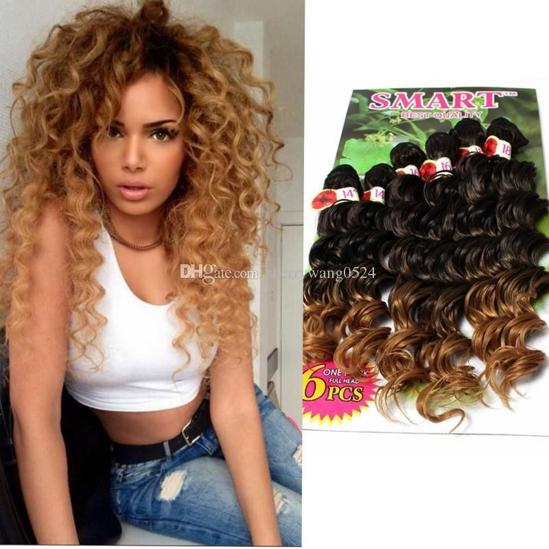 Deep Wave Hair Weave Synthetic Hair Bundles Jerry Curl 14 18inch