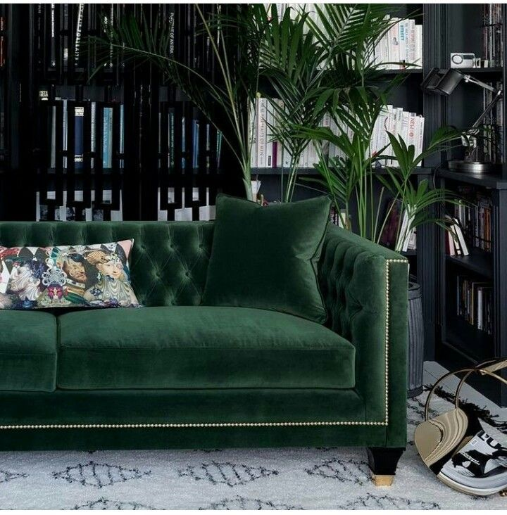 Green Velvet Sofa Art Deco Living Room Sofa Design Luxury Sofa