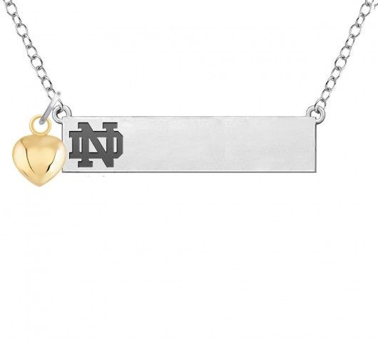Notre Dame Fighting Irish Bar Necklace With Gold Heart Accent