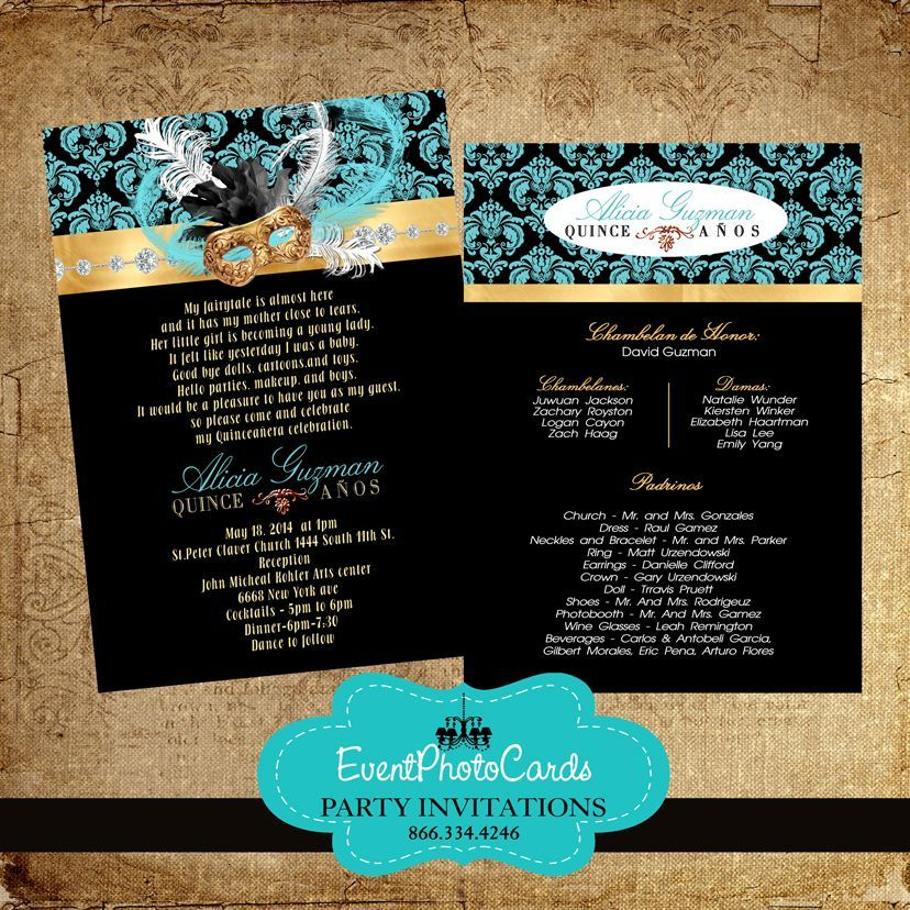 Masquerade Invitation for Sweet 16 - Gold & Black Masquerade ...