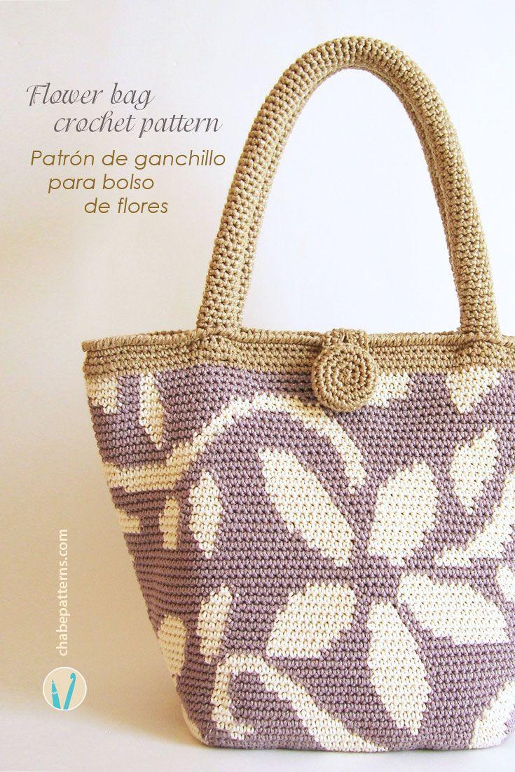 Crochet pattern for flower tote   Símbolos, Esquemas y Bolsos