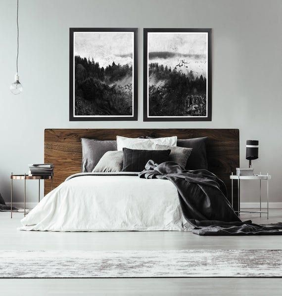 Minimalist Bedroomdesign Ideas: Black And White Forest Print Black And White Abstract Art