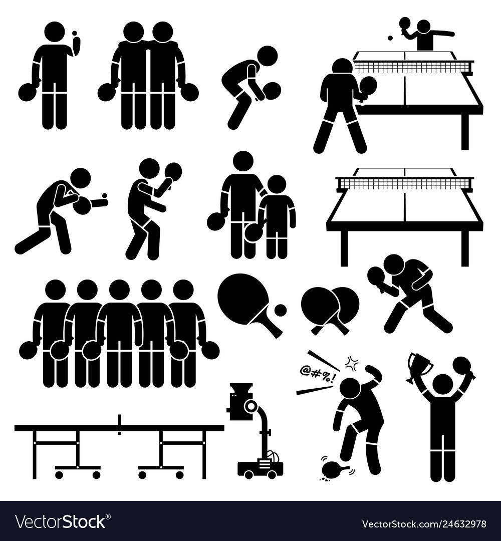 Table Tennis Player Actions Poses Stick Figure Vector Image Sponsored Player Actions Table Tennis Ad In 2020 Table Tennis Pictogram Stick Figures