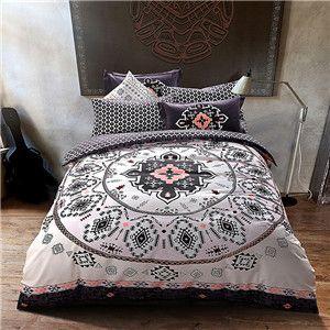 mandala style geometric bedlinens high quality sanding cotton fabric queenking size duvet cover set