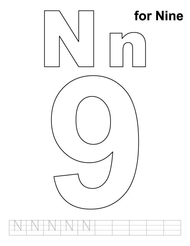 N for nine coloring page with handwriting practice