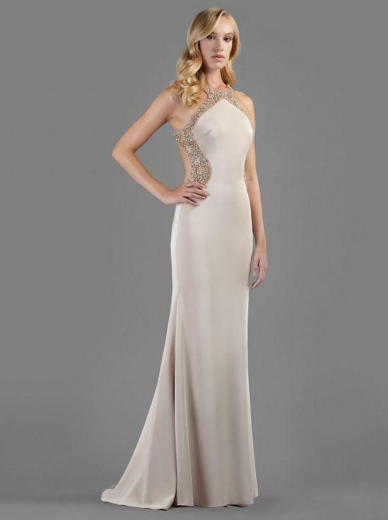 854872dec08 Βραδινό μακρύ φόρεμα με ανοιχτή πλάτη κεντημένη με πολύτιμες πέτρες -  Βραδυνά Φορέματα