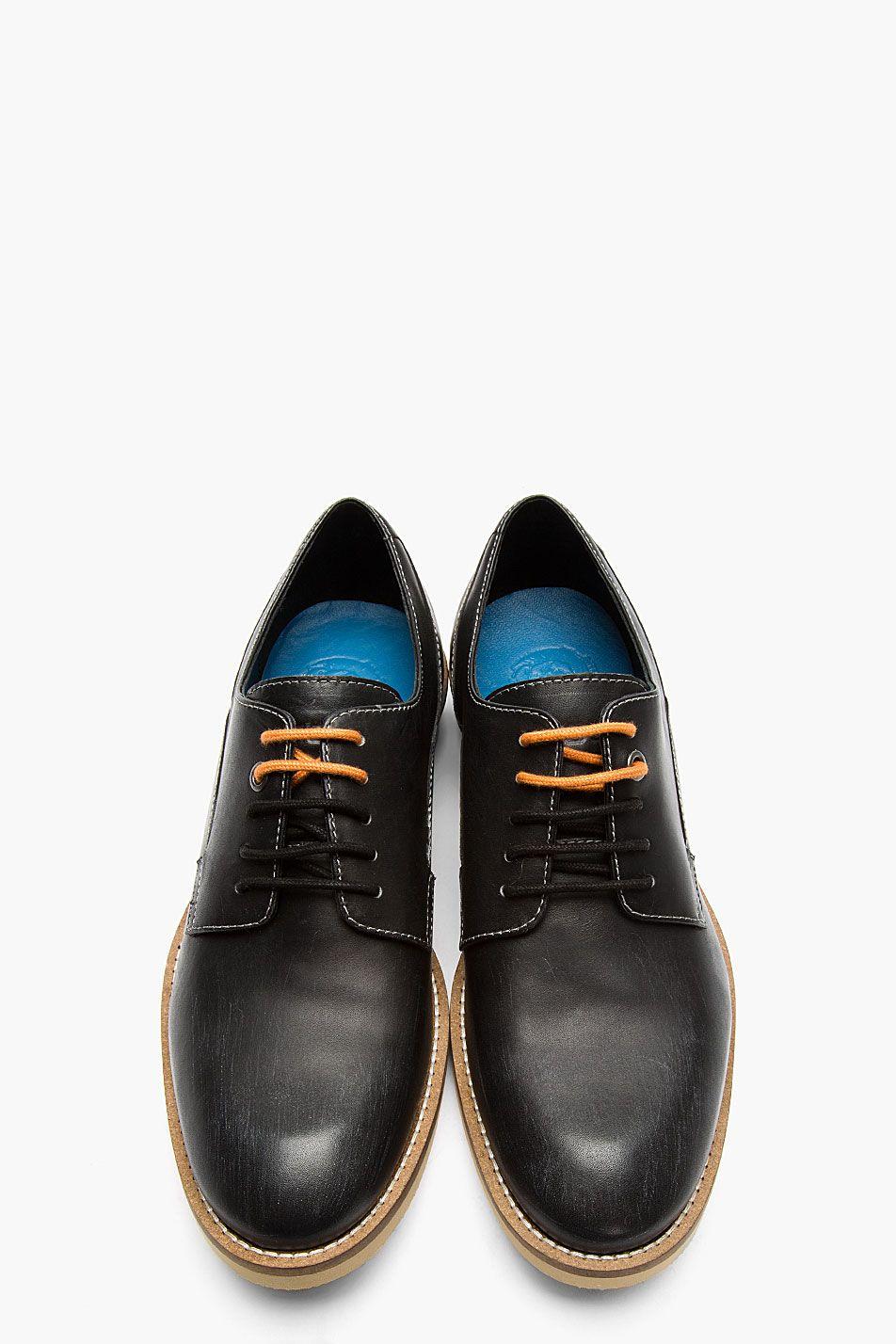 DIESEL Black Leather Two Tone-Laced Ellington Derby Shoes #WhatIWouldWear