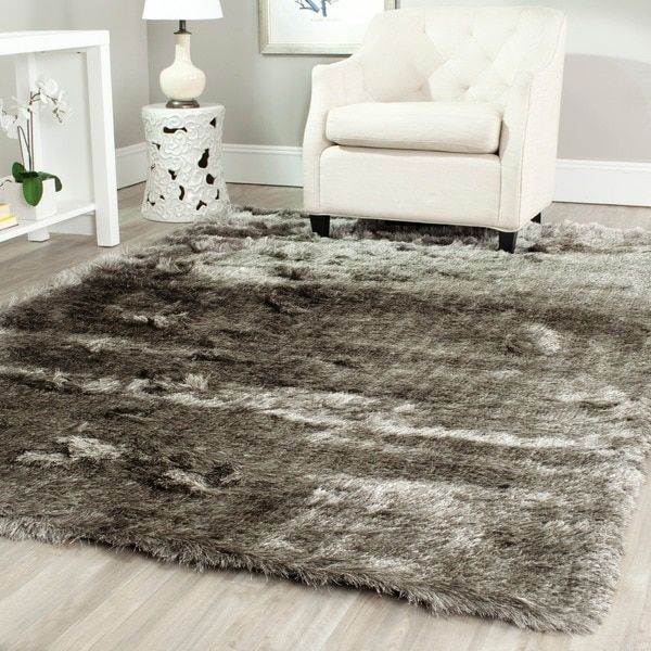 safavieh handmade silken glam paris shag silver rug (5' x 7') by