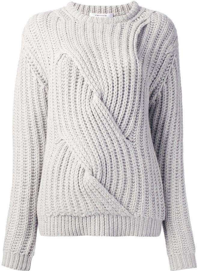 d9f25ff88534 Carven chunky cable knit sweater on shopstyle.com