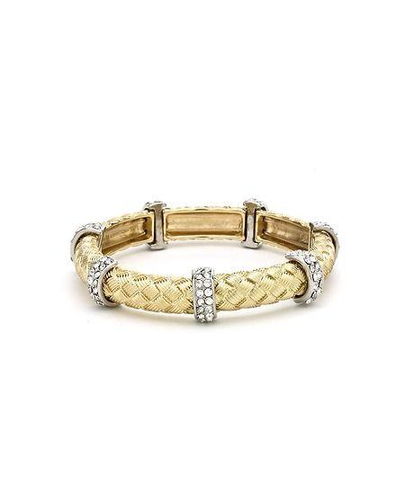 Rhinestone Metal Rope Bracelet - Gold  $28