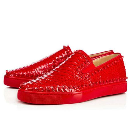 Christian Louboutin United States Official Online Boutique - Pik Boat Men's  Flat White-Roccia/Silver Patent available online. Discover more Men Shoes  by ...