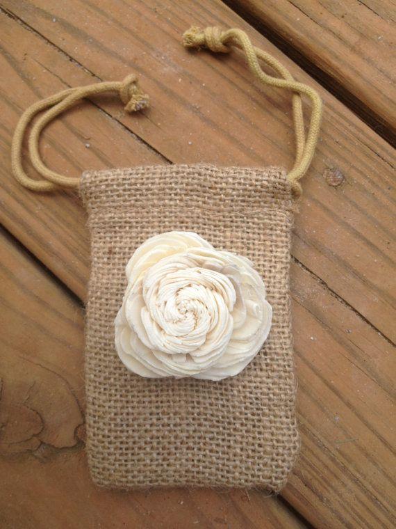 3x5 Burlap Bag with Sola Flower - Set of 5 - Shabby Chic Rustic Guest Favor Burlap Bags - Wedding Favors - Rustic Wedding Favor
