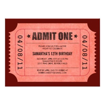 Red Admit One Ticket Invitations Ticket invitation, Charity fund - admit one ticket template