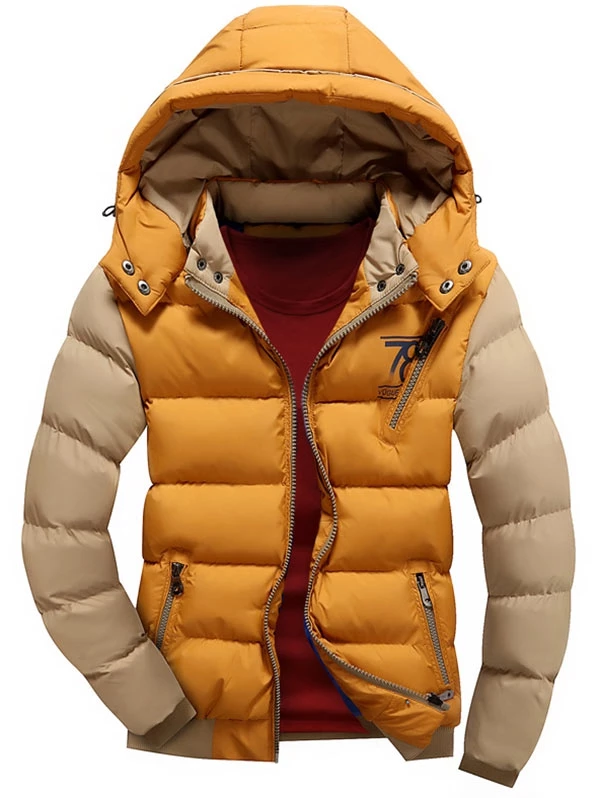 Color Block Puffer Jacket with Detachable Hood for Men
