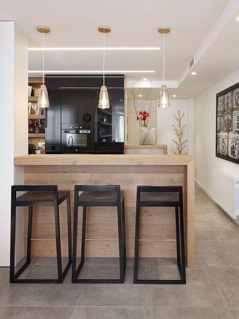 Barra de cocina con taburetes carpas en 2019 cocinas - Taburete barra cocina ...