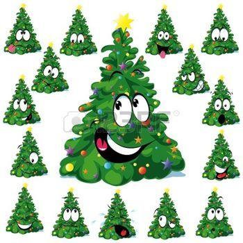 Funny Christmas Christmas Tree Cartoon With Star