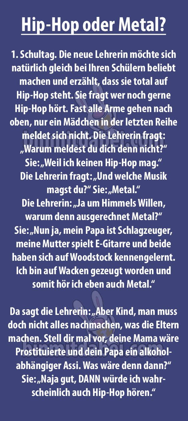 Hip Hop oder Metal? | Music | Funny, Funny Quotes, Man humor