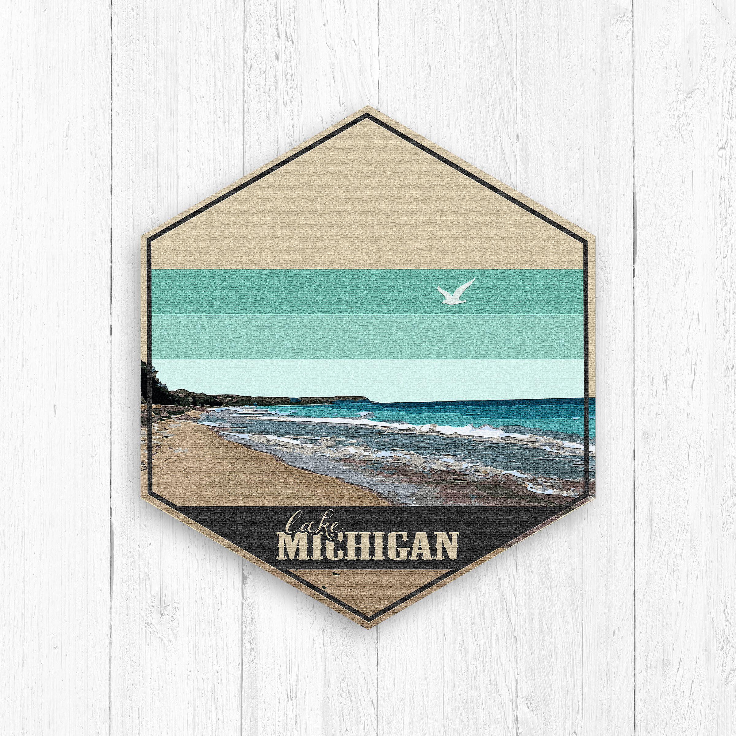 Lake Michigan Lake Michigan Wall Art Lake Michigan Wall Etsy Michigan Art Hexagon Canvas Hexagon Print