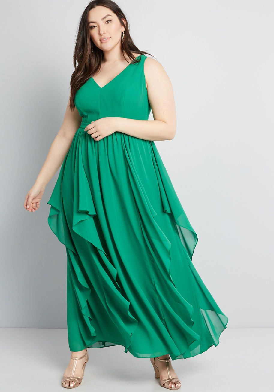 20a530e348fe As Ruffles Ripple Maxi Dress - With each ebb, the gorgeously draping  ruffles dancing down this green maxi dress make a new bystander fall in  love with your ...