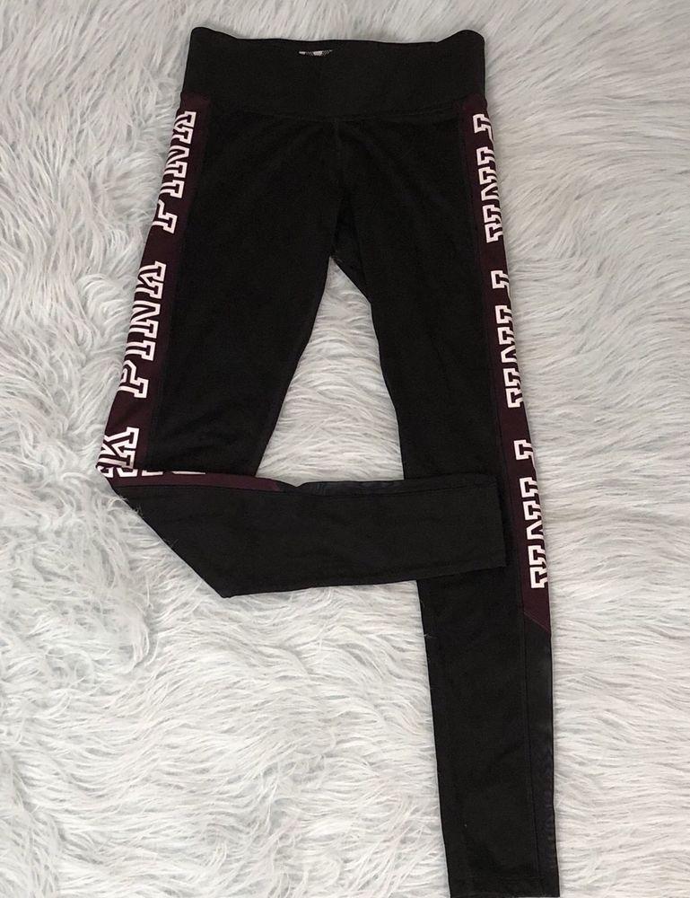 69ce69767eaeb Victoria's Secret Mega Bling Cotton Yoga Leggings Black Burgundy ...