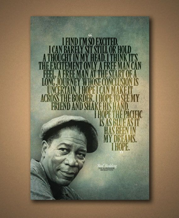 "Morgan Freeman Quotes Movie: The SHAWSHANK REDEMPTION Red ""I Hope"" Quote Poster (12""x18"