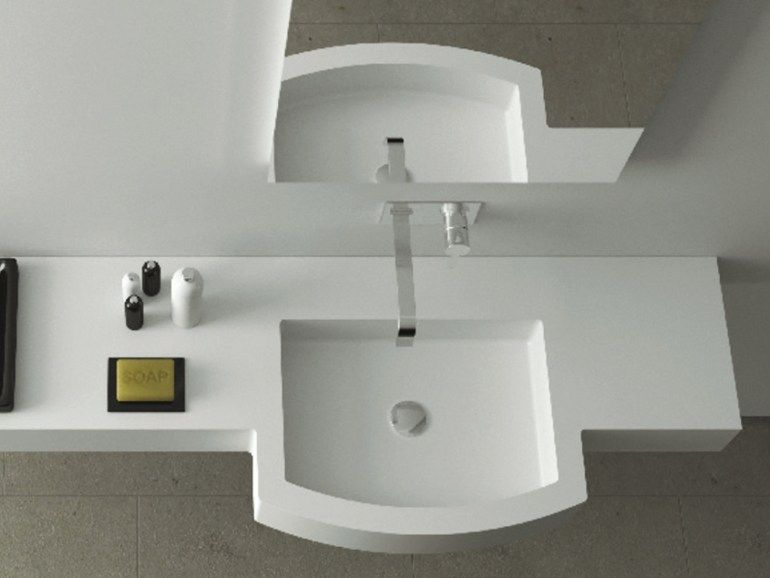 Lavabo in Corian® con piano REGULAR SYSTEM by MOMA Design by ...